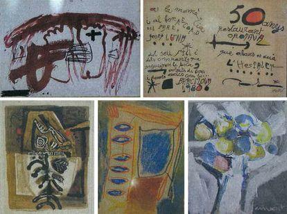 Cinco de las obras requisadas firmadas por Tàpies y Miró, arriba y Muxart, Ginovart y Clavé, abajo.
