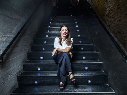 Natalia Álvarez, directora del Centro Cultural Conde Duque, en las escaleras de la sala de bóvedas del recinto.