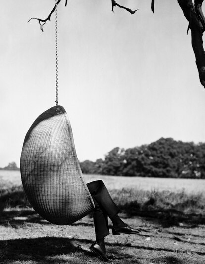 'Hanging Egg chair', designed by Nanna and Jørgen Ditzel in 1959.