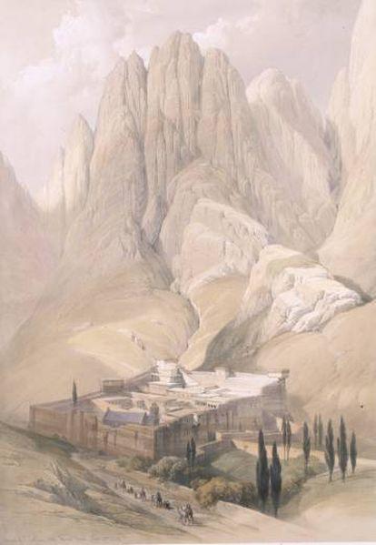 Litografía del monasterio de Santa Catalina, en el Monte Sinaí.