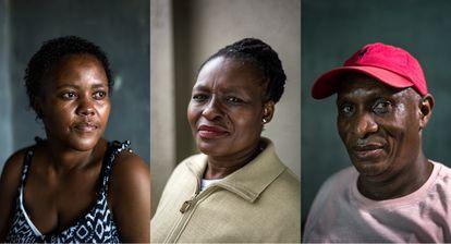 Nontumiso Ndlela, Sibongile Thsabalala y Michael Hmanca conviven con el VIH o la tuberculosis.