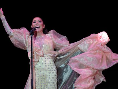 Isabel Pantoja durante el concierto del 6 de marzo de 2020 en el Palacio de los Deportes, en Madrid.