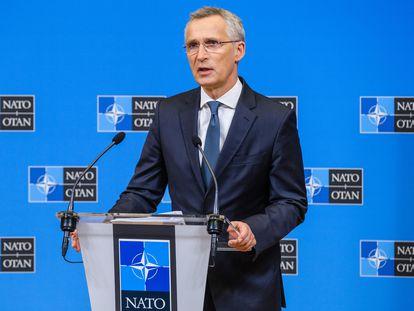El secretario general de la OTAN, Jens Stoltenberg, en una rueda de prensa este lunes, 31 de mayo, en Bruselas.