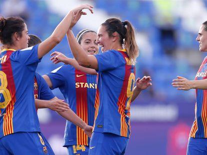 Mariona, en el centro, celebra el tercer gol del equipo.