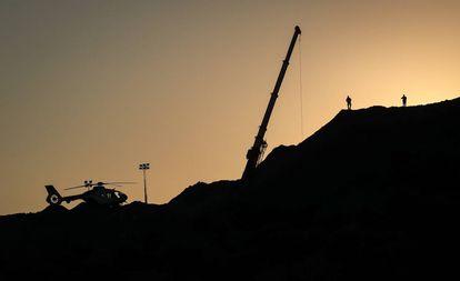 Vista del cerro donde se busca a Julen, en Totalan.