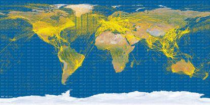 Imagen del tráfico áereo mundial creada con observaciones del satélite PROBA-V de la Agencia Espacial Europea