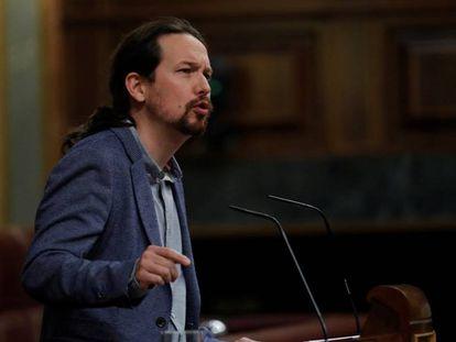 Pablo Iglesias interviene en el Congreso de los Diputados.