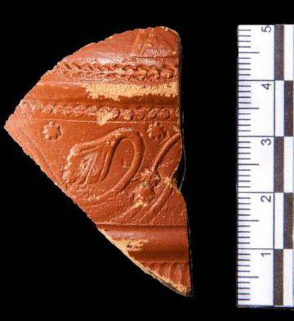 Fragmento de Terra Sigilatta Gaelica hallado en Suances,