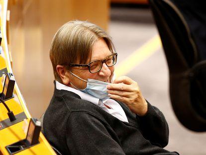El eurodiputado Guy Verhofstadt, en una sesión plenaria de la Eurocámara el 27 de mayo pasado en Bruselas.