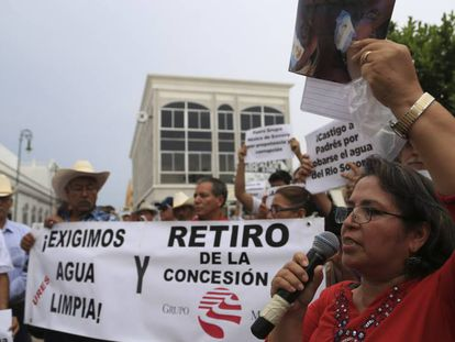 Protesta contra una minera en Sonora, al norte de México.