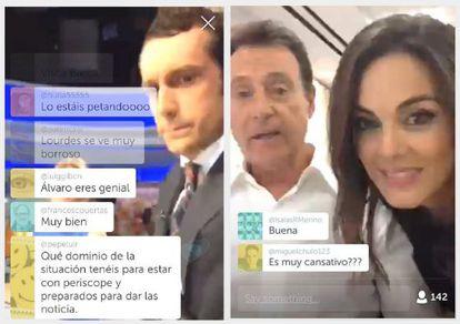 Álvaro Zancajo (izquierda), Matías Prats y Mónica Carrillo, durante las retransmisiones con Periscope.