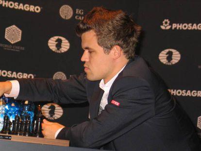 Magnus Carlsen durante el último Mundial, Nueva York 2016