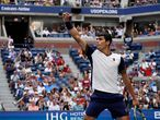 Spain's Carlos Alcaraz celebrates during his 2021 US Open Tennis tournament men's singles third round match against Greece's Stefanos Tsitsipas at the USTA Billie Jean King National Tennis Center in New York, on September 3, 2021. (Photo by TIMOTHY A. CLARY / AFP)