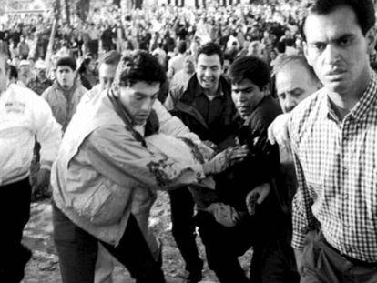 Luis Donaldo Colosio, tras recibir dos disparos en Lomas Taurinas, en 1994.