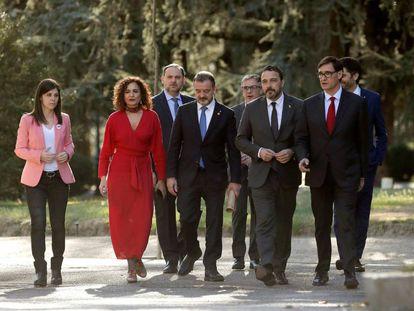 Miembros del Gobierno y de la Generalitat en la Moncloa este miércoles.