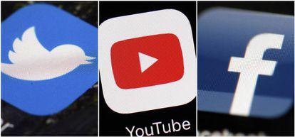 Logotipos de Twitter, YouTube y Facebook.