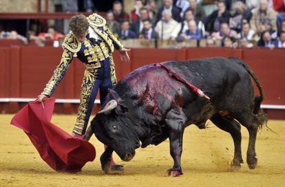 El Diestro de Gerena, Manuel Escribano, con su primer toro, durante la corrida de toros de Domingo de Resurrección.