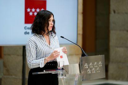 Isabel Díaz Ayuso, tras un consejo de Gobierno de la Comunidad de Madrid.