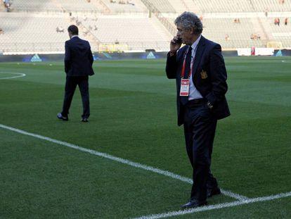 Ángel María Villar en el estadio Rey Balduino de Bruselas.