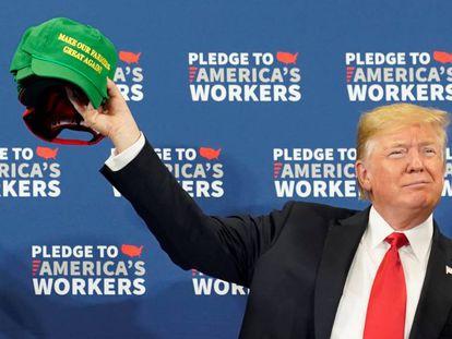 El presidente Donald Trump en un evento en Iowa