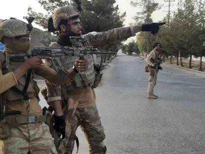 Miembros de las fuerzas especiales afganas, el miércoles en Lashkar Gah, la capital de la provincia de Helmand.