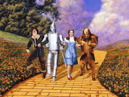 """El cuarteto protagonista de la primera versión cinematográfica de """"El mago de Oz"""", dirigida por Victor Fleming y estrenada en 1939."""