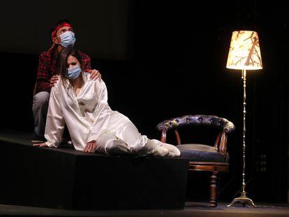 Ensayo de 'La selva sin amor' en el teatro de la Escuela Superior de Canto de Madrid.