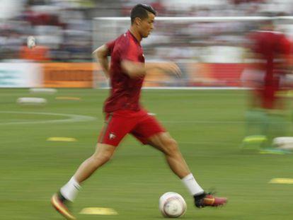 Cristiano durante un entrenamiento.