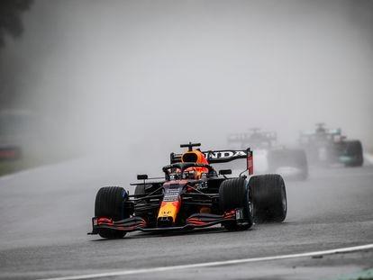 Max Verstappen (Red Bull Racing Honda), en acción durante el accidentado GP de Bélgica.