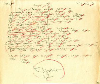Manuscrito de la obra 'Espacio' del poeta andaluz