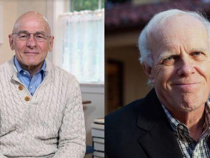 La citada institución reconoce con el Premio Fronteras del Conocimiento la labor científica de John Hennessy (a la derecha) y de David Patterson en el desarrollo de ordenadores.