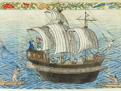 Llegada de un galeón español a las islas de los Ladrones (hoy Marianas). El dibujo pertenece al 'Códice Boxer', circa 1590.