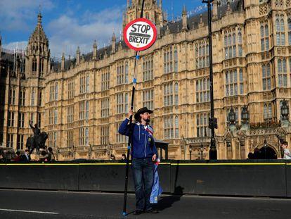 Un manifestante en contra del Brexit frente al Parlamento británico en Londres.