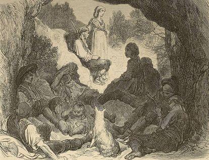 'Gitanos cerca de Zumárraga' (1862), de Gustavo Doré, ilustración que se incluía en el artículo 'Voyage en Espagne: les provinces basques', del barón Charles Davillier.