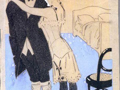 Uno de los dibujos de Juan Gris, de 1909, que está en la exposición.
