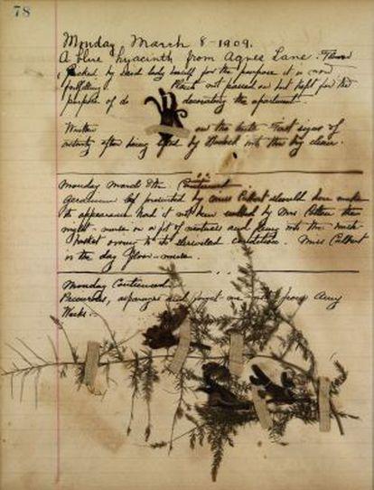 Un fragmento de los 'Diarios de juventud', escritos en inglés.