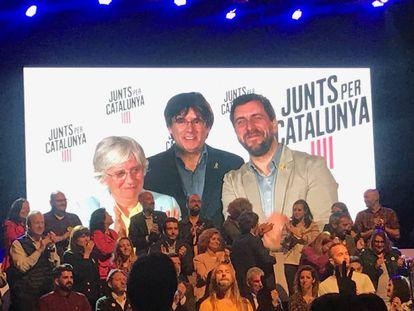 Clara Ponsatí, Carles Puigdemont y Toni Comín, en videoconferencia tras conocerse los resultados de las elecciones europeas.