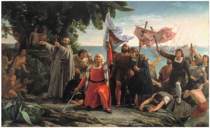 'Primer desembarco de Cristóbal Colón en América' (1862). Dióscoro Teófilo Puebla y Tolín.