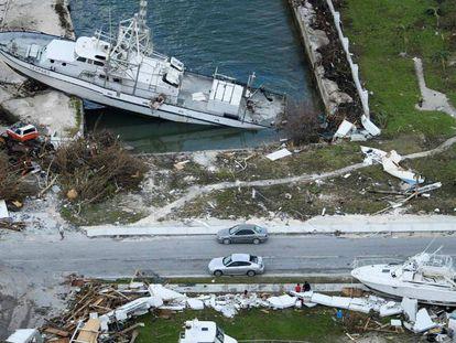 Barcos sacados del agua en Abaco tras el huracan Dorian.
