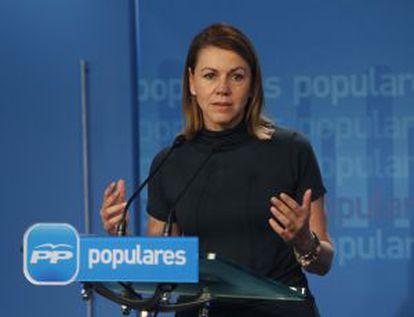 Dolores de Cospedal, durante la conferencia de prensa que dio ayer en la sede del PP.
