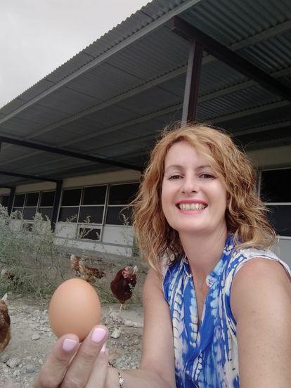 María Dolores López, en su granja en Albox.