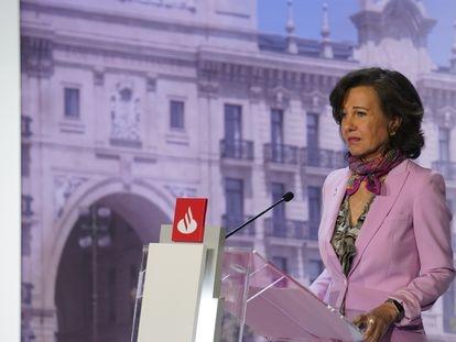 Ana Botín, durante su discurso en la junta de accionistas del Santander 2020 en una imagen facilitada por el banco.