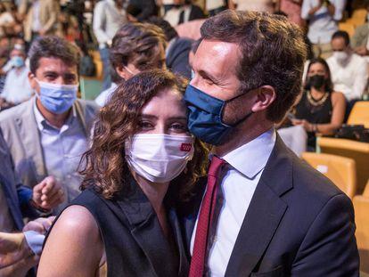 Ayuso y Casado, durante la convención del PP.
