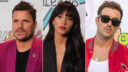 Los cantantes Dani Martín, Aitana y Álvaro de Luna, en la cena de nominados de LOS40 Music Awards, el 5 de octubre en Ibiza.