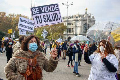Manifestación en defensa de la sanidad pública en Madrid.