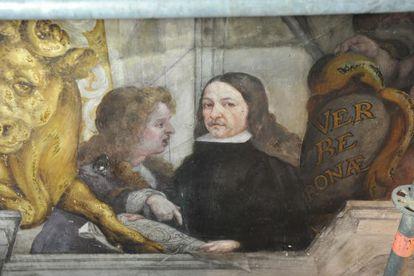 Autorretrato de Vidal con su maestro Palomino.