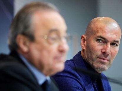 Florentino Perez y Zinedine Zidane, en mayo de 2018 en la primera despedida como técnico del francés.