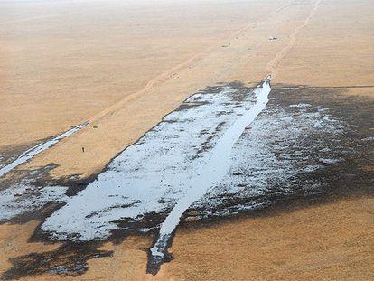 Vista del área afectada por el vertido de petróleo