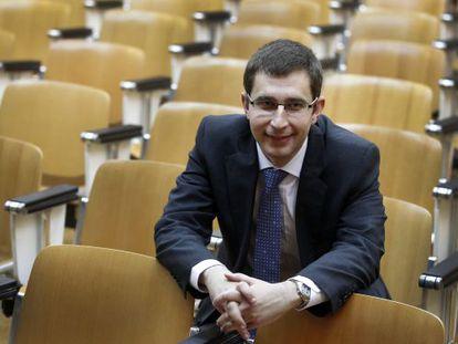 El nuevo director de la agencia antidopaje, Enrique Gómez Bastida, durante la toma de posesión del cargo.