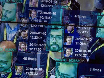 Imagen tomada en enero de una demostración real de identificación facial en la feria Horizon Robotics de Las Vegas.
